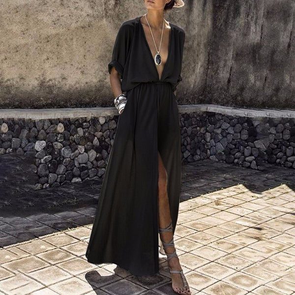 Maxi Women's Dress Summer Beach V Neck Tunic High Waist Split Sexy Long Holiday Dresses 2018 Fashion Casual Clothes