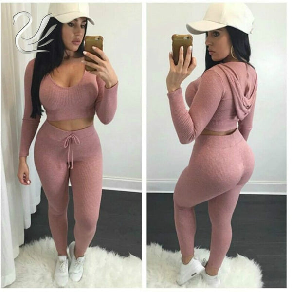 Tracksuits 2018 Winter 2 Pieces Set Women Knitted Cotton Hoodies Jumpsuits Pink Sweater Crop Top + Pants Sporting Suits Outfits