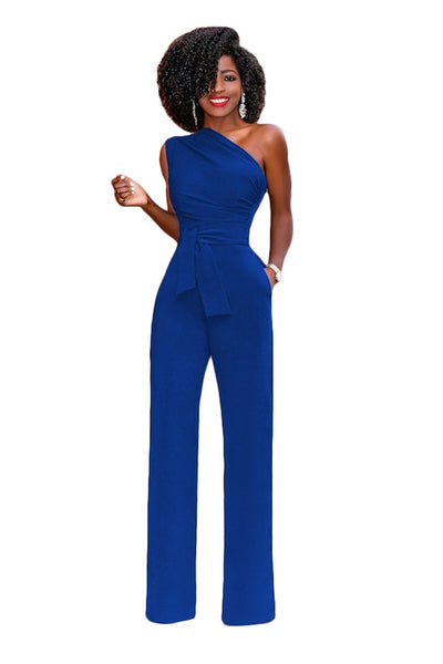 Women Off Shoulder Casual Jumpsuits Wide Leg Pants Summer Elegant Rompers Womens Jumpsuit Party Overalls Female