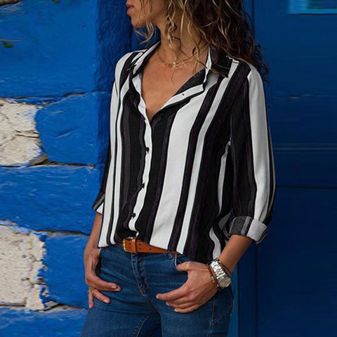Women Striped Business Casual Blouse Tops Female 2018 Summer Autumn Long Sleeve Print High Street Loose Tee Shirts