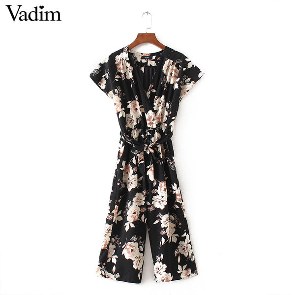 V neck vintage floral wrap jumpsuits wide leg pants bow tie sashes elastic waist rompers short sleeve casual playsuits