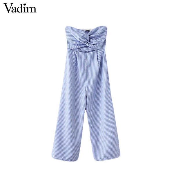 sexy striped sleeveless jumpsuits strapless backless pleated design cut out waist rompers female casual playsuits KA133