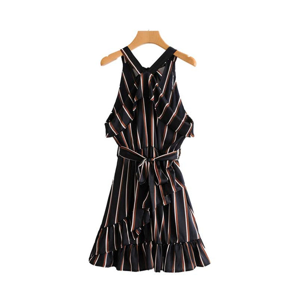 women sexy halter striped dress bow tie sashes ruffled sleeveless elastic waist ladies chic mini dresses vestidos QZ3722
