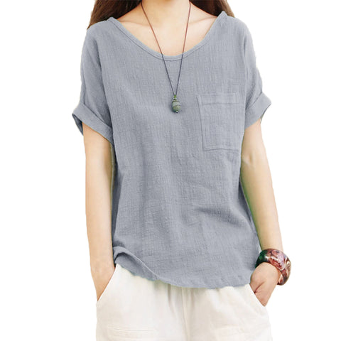 Vintage Sexy Summer Baggy Linen Blouse Women Tops New Short Sleeve O Neck Loose Shirt Tee Casual Ladies Blusas Plus Size