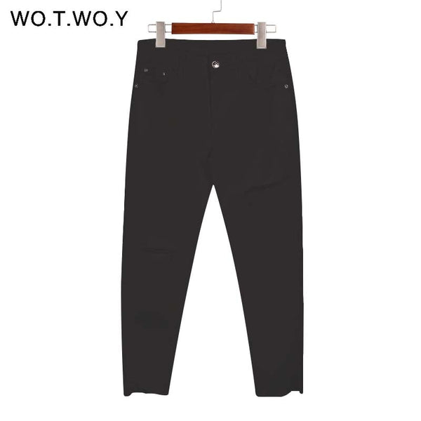 WOTWOY Black Ripped Jeans Woman S-3XL Skinny Elastic Jeans Irregular Edge Women Denim Pants High Waist Femme Jeans Plus Size