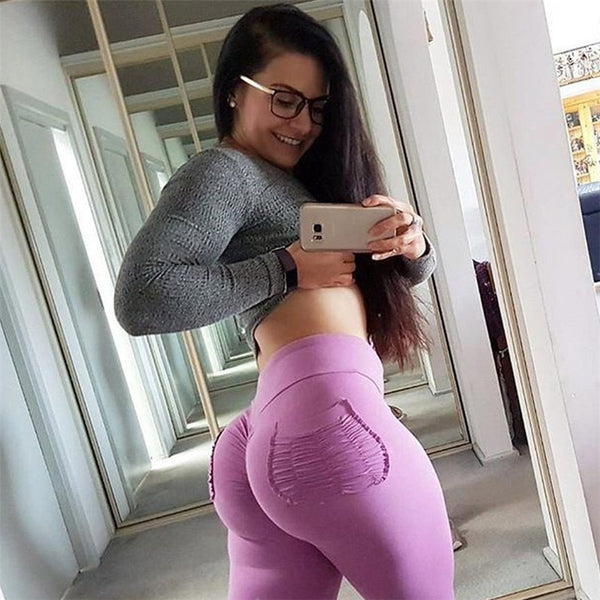 2018 Womens Candy Color Leggings High Waist Push Up Hips Leggings Sexy Slim High Elastic Skinny Trousers with Pocket
