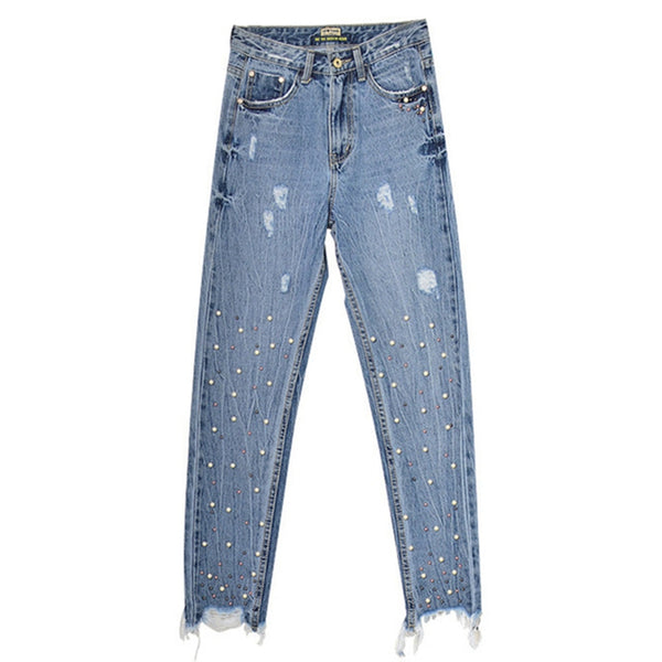 Winter high waist jeans woman vintage trousers boyfriend mom pearl jeans distressed ripped jeans for women denim pants plus size