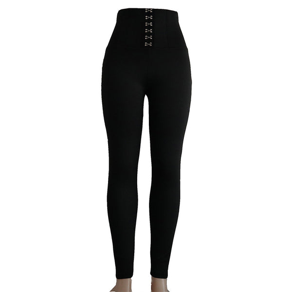 Women Black Hook High Waist Cincher Leggings Full Length Skinny Trousers Sexy Butt Lifting Pants
