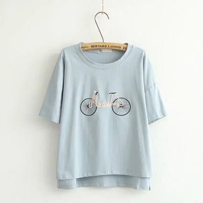 Women Cotton Top Casual feminina High Quality Classic Shirt Girls' Tee Solid Embroidery  Bottoming Short Sleeve T Shirt