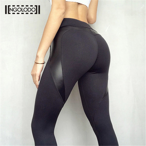 Women Fitness Leggings For Female Black Sexy Leather Pants High Waist leggins Breathable Elastic Slim Workout Push Up Jeggings