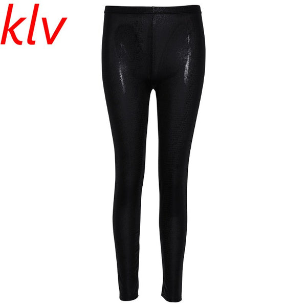 Women Girl Faux Leather Snakeskin Stretchy Pencil Pants Jegging Leggings