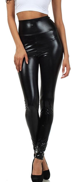 Women High Elastic Thin Faux Leather Leggings Large Size Xl-5XL Imitation Leather Pants Skinny Shiny Black Plus Leggings