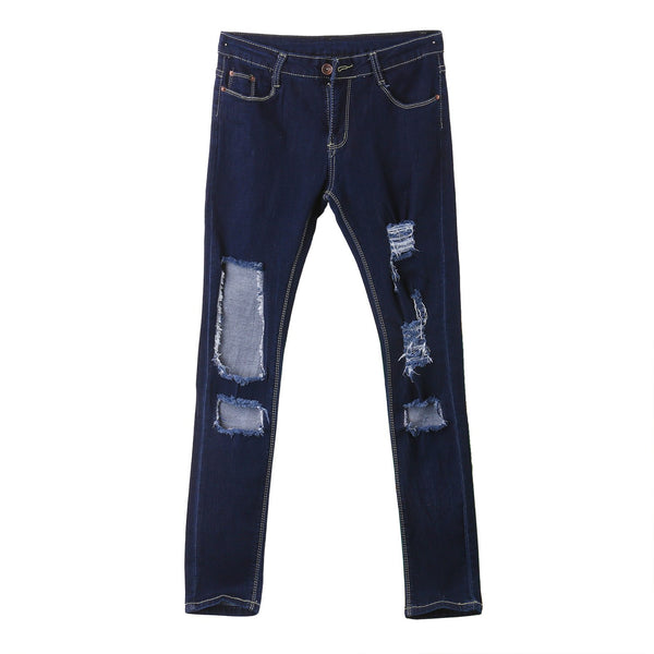 Women Hole Destroyed Ripped Distressed Slim Denim Pants Hole Jeans Trousers Blue