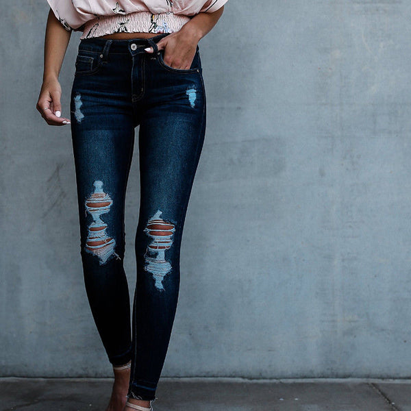 Women Jeans Pencil Stretch Casual Look Denim Skinny Ripped Hole Jeans Pants High Waist Trousers Women Clothes 2020