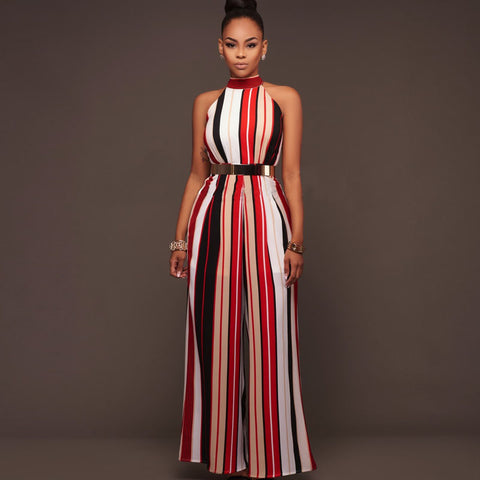 a2c88045ed4 Women One piece jumpsuit Sexy Sleeveless Halter Lace up Striped straps Wide  leg Siamese pants 2018