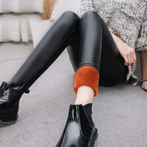 Women PU Leather Pants High Elastic Waist Leggings Not Crack Slim Leggings Fleece Lady Fashion Black Trousers plus sizes
