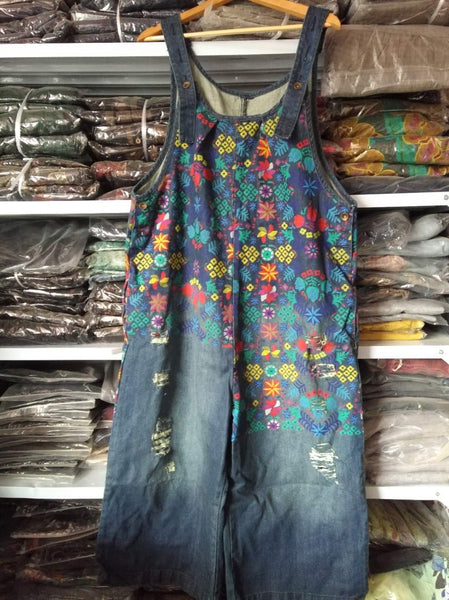 Women Retro Printed Holes Ripped Jumpsuit Ladies Denim Bleached Wide Leg Overalls Female Vintage Denim Rompers Print