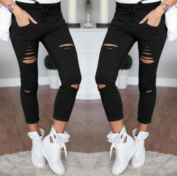 Women Skinny Denim Pants Holes Destroyed Knee Pencil Pants Casual Trousers Black White Stretch Ripped Pants HD0428