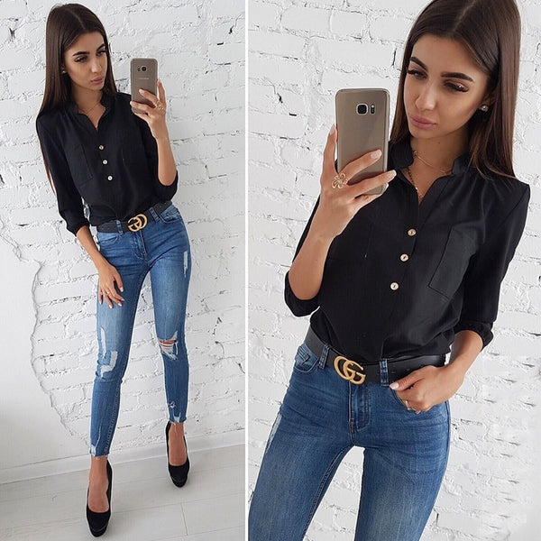 Women Vintage Buttons Pockets Blouses Three Quarter V neck Solid Casual Shirt 2018 New Autumn Fashion Women Tops And Blouse