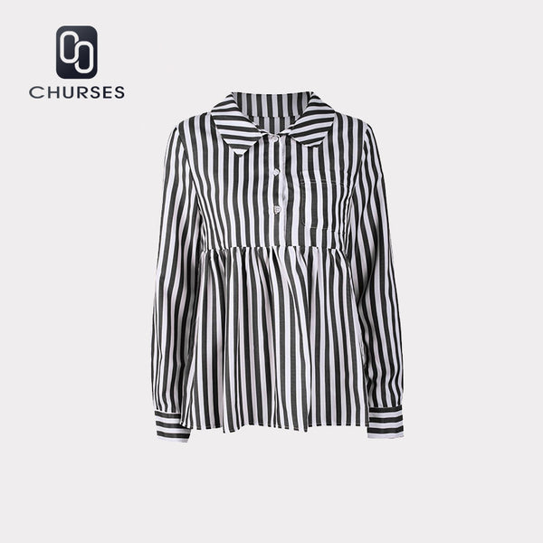 Women Vintage Striped Button Tops And Blouse Long Sleeve Turn-down Collar Shirt 2018 Autumn New Fashion Office Ladies Blouses