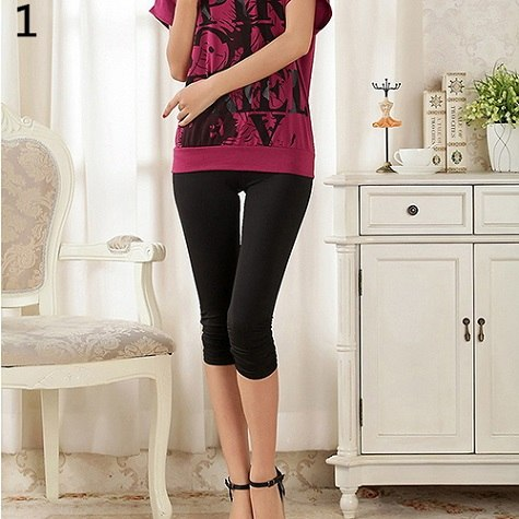 Women's Casual Seamless Capri Leggings Workout Pants