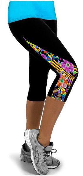 Women's Fashon New Arrival Casual Patchwork Side Floral Exercise Capris High Waisted Patchwork Workout Fitness Leggings Wear