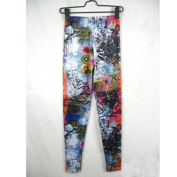 Women tattoo graffiti leggings lovely angel printed leggings spring fall pencil pants lady Elastic waist Slim Leggings