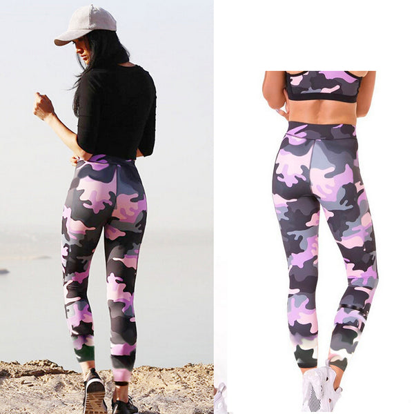 Womens Fitness Long Camouflage Purple High Waist Leggings Pants Trousers