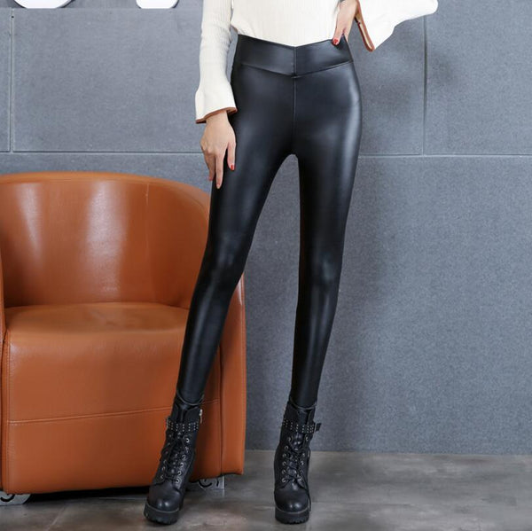Womens PU Leather Pants High Elastic Waist Leggings Not Striped Crack Slim Leather Leggings Fleece Trousers Women Fashion