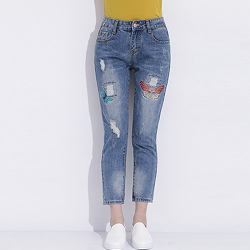 Womens Ripped Jeans With Embroidery 2020 Ladies Distressed Jeans Casual Cotton Broken Denim Pants Pantalones Vaqueros Mujer