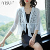 lace Blusas Women Kimono Cardigan Sexy Tops Cross Deep v neck Summer Blouse Wrap Shirt Tie Waist Top Chiffon Short Kimono