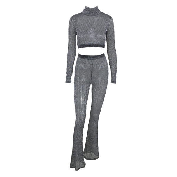 New Arrival  Rompers Women Long Sleeve Crop Top Slim Style Skinny 2 Pieces Jumpsuits Bodycon Overalls