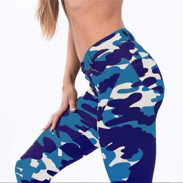 women workout leggings with pockets 3D Digital Printing push up Camouflage Leggings elastic Fall leggings 425