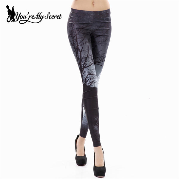 [You're My Secret] Fashion Plus Size Printing Leggings Woman Starry Sky Midnight Woods Leggins Women Fitness Skinny Pants Autumn