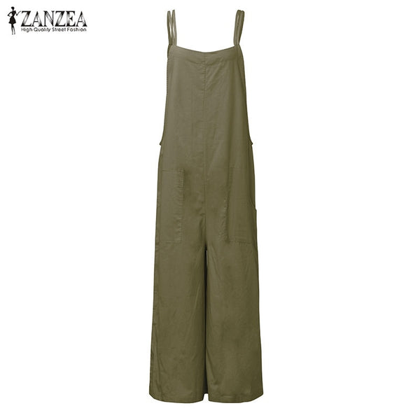 New Summer Rompers Women Jumpsuits  Plus Size Sleeveless Straps Pockets Solid Wide Leg Retro Full Length Overalls
