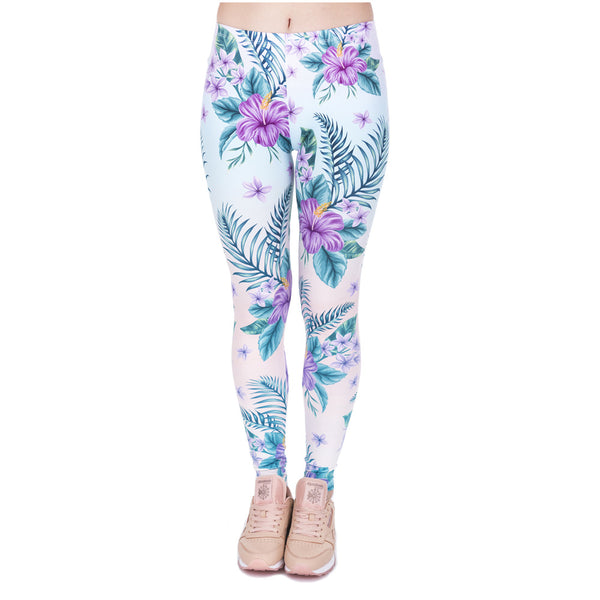 Fashion Elegant Women Legins Tropical Pink Flowers Printing Legging High Waist Woman Cozy Leggings