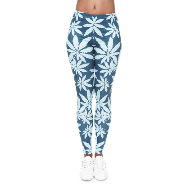 Fashion Leggings Mint Weed Printing Fitness Legging High Stretch Leggins High Waist Slim Sexy Legins Trouser Women Pants