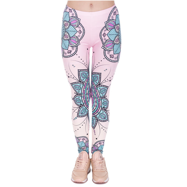 Fashion Women Legins Mandala Flower 3D Printing Legging Silm High Waist Woman Leggings
