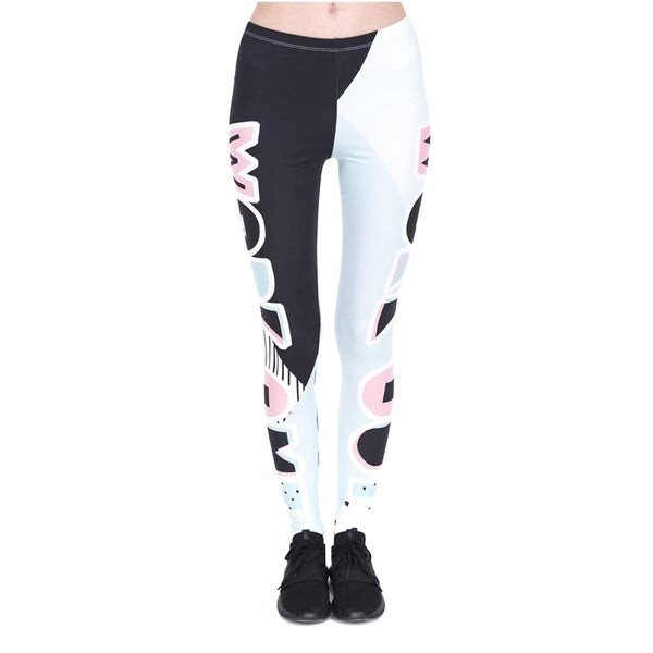 Fashon Fitness Woman Legins Work Out Patches Printing Work Out Legging Women High Waist Slim Leggings