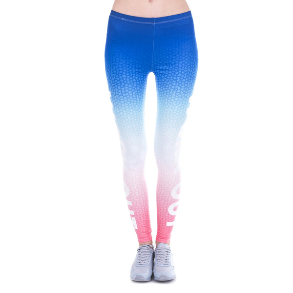 Fashon Slim Woman Legins Ombre Gradient Printing Work Out Legging High Waist Women Leggings