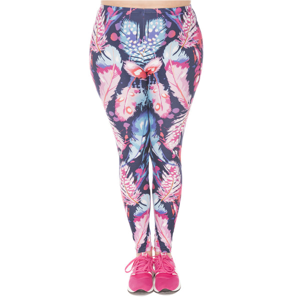 High Quality Large Size Leggings Feathers Color Printed Leggins Plus Size Trousers Stretch Pants For Plump Wome