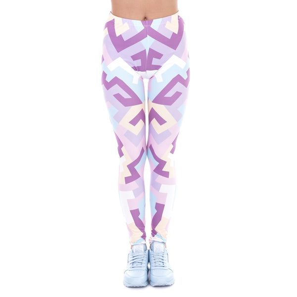 New Spring Women Legins Geometric Shapes Pink Printing Legging Fashion Elegant High Waist Woman Leggings