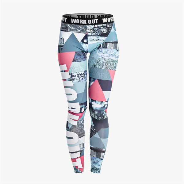 Retro Graphics Women Legging Triangle Graffiti Printing Leggings Fashion Slim High Waist Woman Pants