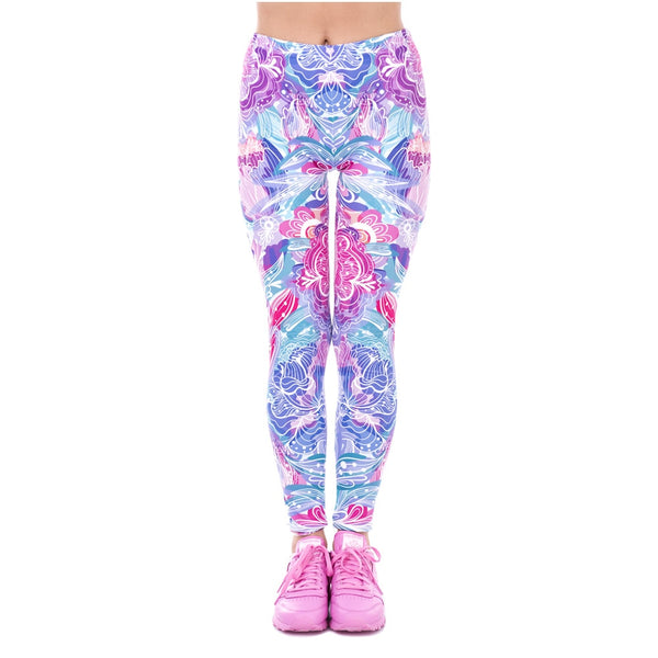 Spring Fashion Women Legins Exotic Purple Flowers Printing Legging Elegant Cozy High Waist Woman Leggings