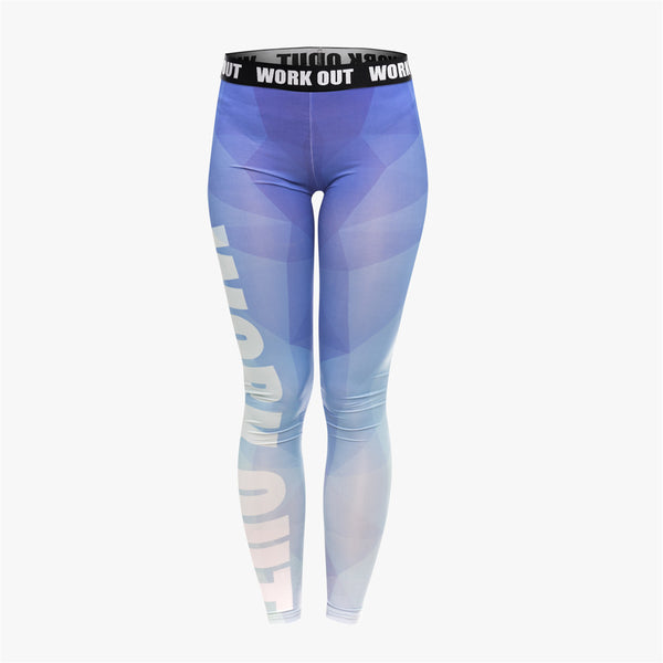 Unique Design Women Legging Triangle Blue Printing Fashion Leggings Sexy Fitness High Waist Woman Pants