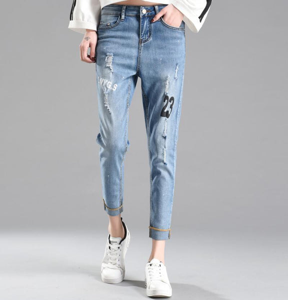 boyfriend for women jeans woman 2020summer new letters character design plus size jeans with high waist ripped denim pants femme