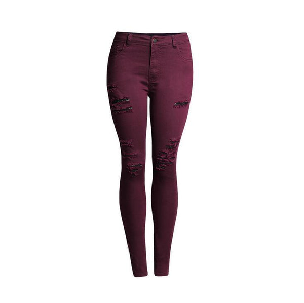 catonATOZ 2056 New Arrival Woman Burgundy High Waist Denim Pencil Pants Jeans Ripped Stretch Skinny Jeans For Women
