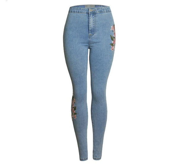 catonATOZ 2157 New Wholesale Woman's Denim Pencil Pants Sexy Embroidery Brand Stretch Jeans Ladies High Waist Jeans Femme