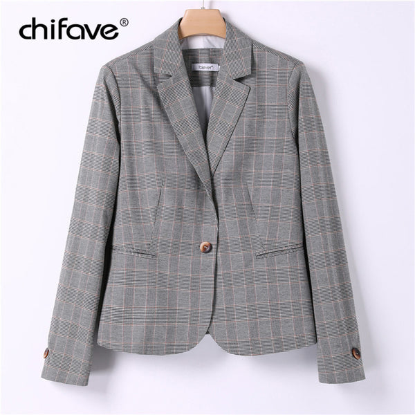 Elegant Office 2018 Autumn Plaid Blazer Women Single Button Slim Blazer Long Sleeve Waist Suit Jacket Female Casual Coat