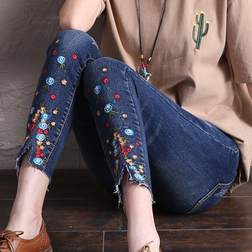 elastic basic women long jeans woman 2020push up skinny jeans with embroidery slim stretch cute nice denim pants femme boyfriend